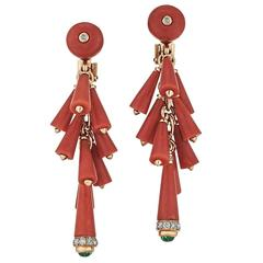 Bulgari Red Coral Emerald Diamond Gold Drop Earrings