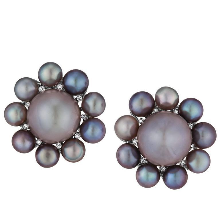 Rare Natural Pearl Diamond Platinum Earrings 1