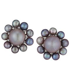 Rare Natural Pearl Diamond Platinum Earrings
