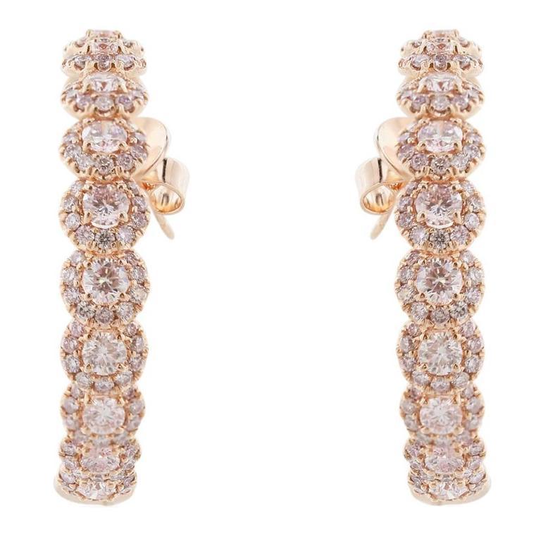 997abfdca36f 6.08 Carat Natural Pink Diamond Hoop Earrings For Sale. 18 karat rose gold  hoop earrings featuring round brilliant cut ...