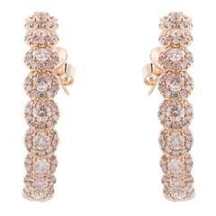 6.08 Carat Natural Pink Diamond Hoop Earrings