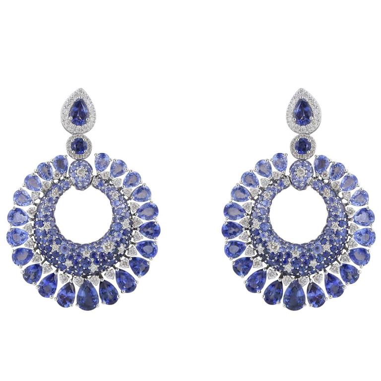 23.41 Carat Sapphire and Diamond Earrings