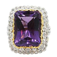 Byzantine Style  Amethyst Diamond Gold Ring