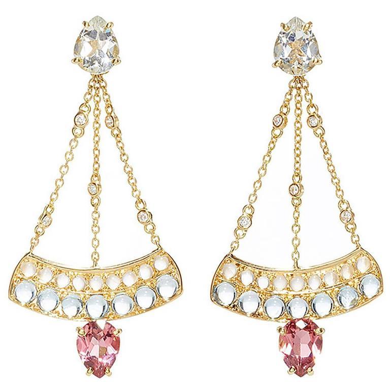 Dubini Theodora Topaz Rubellite Aquamarine Moonstone and Diamonds Gold Earrings