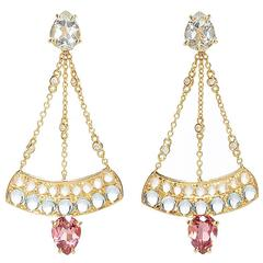 Dubini Theodora Topaz Rubellite Aquamarine Moonstone and Diamonds Gold Earrings