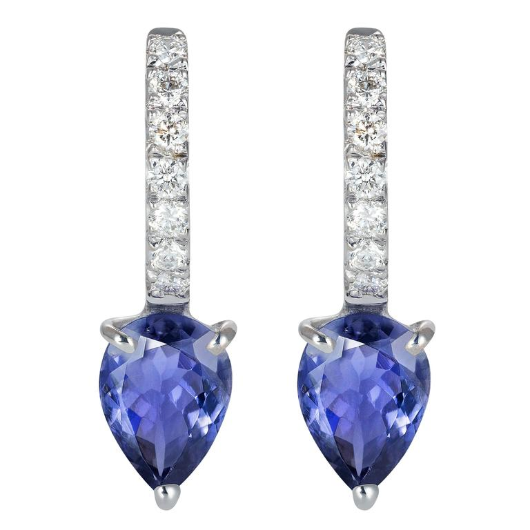 Dubini Theodora Iolite And Diamonds White Gold Earrings