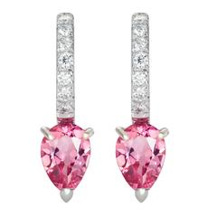 Dubini Theodora Rubellite Tourmaline And Diamonds White Gold Earrings
