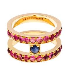 Dubini Theodora Sapphire And Rubellite Tourmaline 18K Yellow Gold Ring