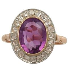 1940s 2.65 Carat Amethyst and Diamond Rose Gold Cocktail Ring