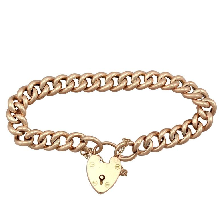 Antique 1901 Yellow Gold Bracelet With Heart Padlock Clasp For