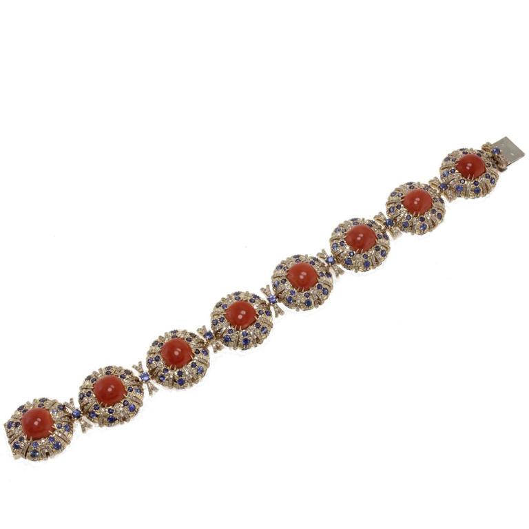 ct 2,83 Diamonds,and ct 16,34 Blue Sapphires, Coral Link Bracelet