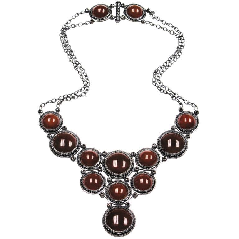 Alex Soldier Carnelian Black Spinel Necklace Choker in Oxidized Silver Handmade 1