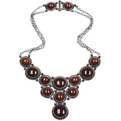 Carnelian & Black Spinel Necklace in Oxidized Silver One of a kind Handmade