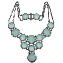 Chalcedony & Diamonds Necklace in Oxidized Silver One of a Kind Handmade in NYC