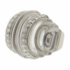 Large David Webb Carved Crystal Diamond Gold Dome Ring
