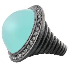 Chalcedony and White Topaz Oxidized Silver Ring Ltd Ed Handmade in NYC