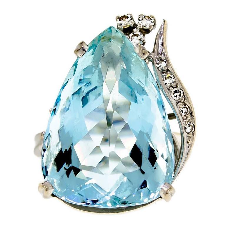 Mid Century Aquamarine Diamond and 18K White Gold Ring