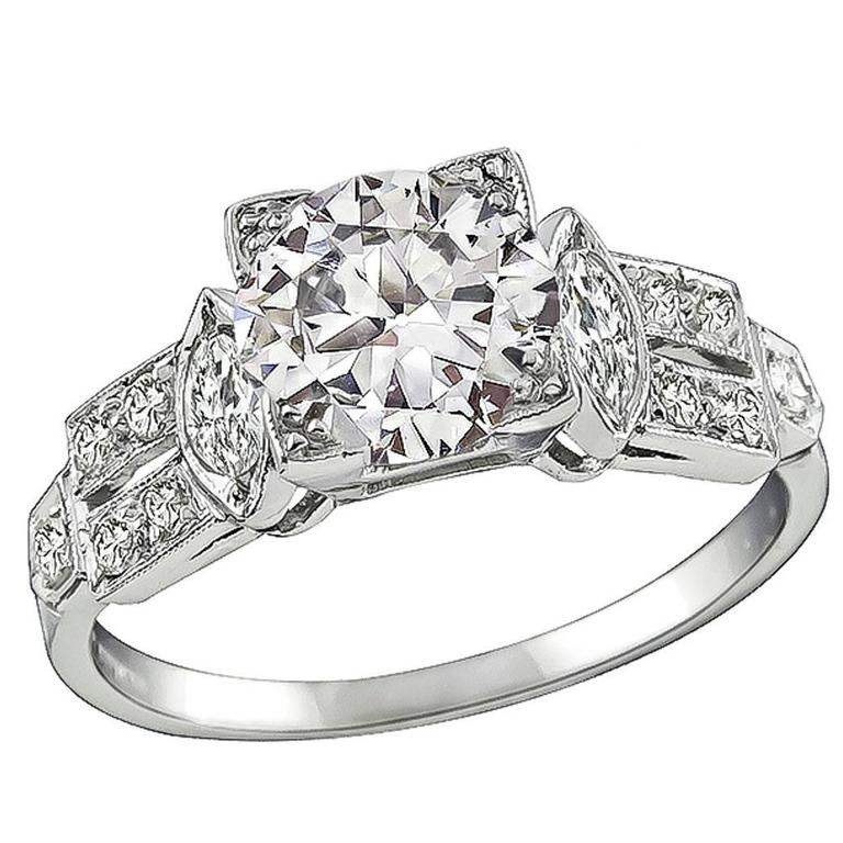 Antique GIA 1.28 Carat Diamond Engagement Ring