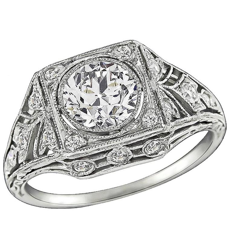 GIA 0.81 Carat Diamond Black Starr & Frost Engagement Ring For Sale