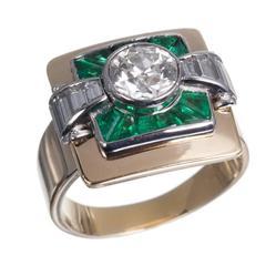 Old European-Cut Diamond and Emerald 18 Karat Yellow Gold Ring