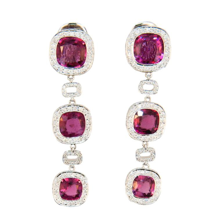 Laura Munder Rubellite Diamond White Gold Earrings For Sale