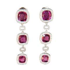 Laura Munder Rubellite Diamond White Gold Earrings