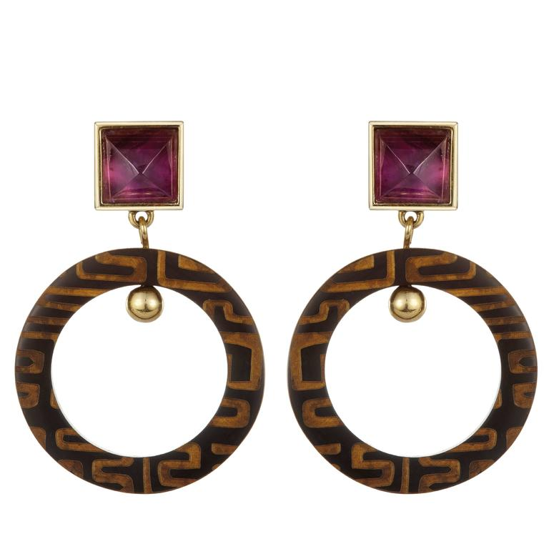Fouche Art Deco Horn Amethyst Africa Engraved Earrings