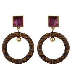 Fouche Horn Amethyst Africa Engraved Earrings