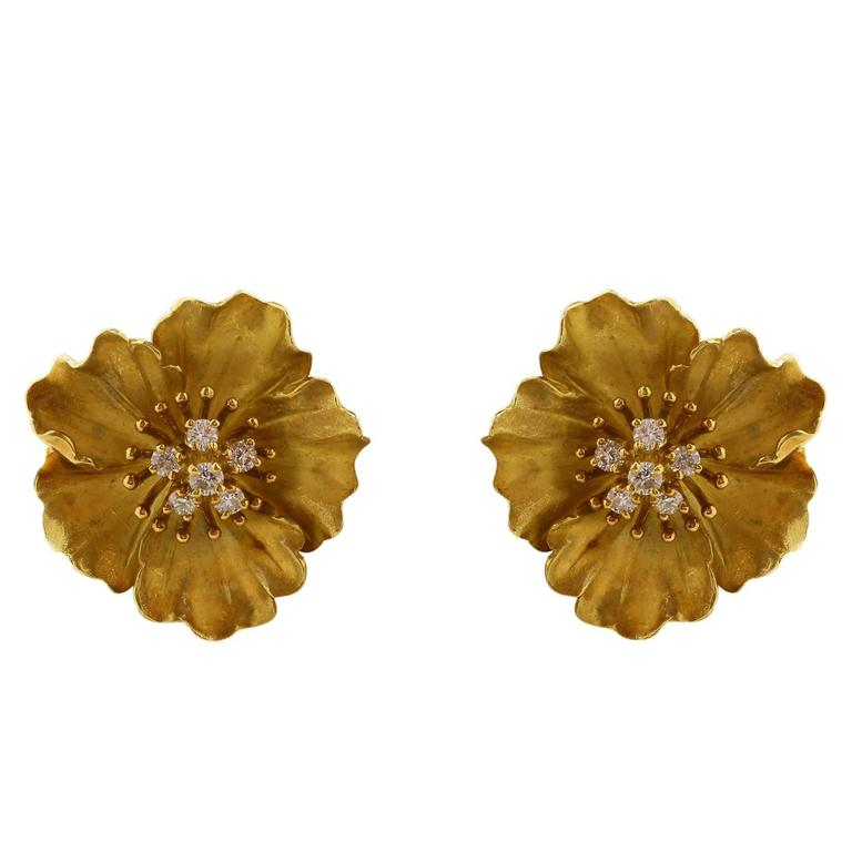 Tiffany & Co. Diamond Gold Flower Earrings