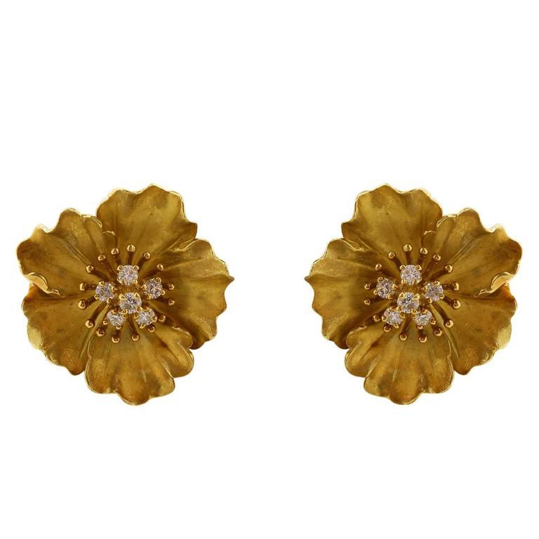 Tiffany & Co. Diamond Gold Flower Earrings