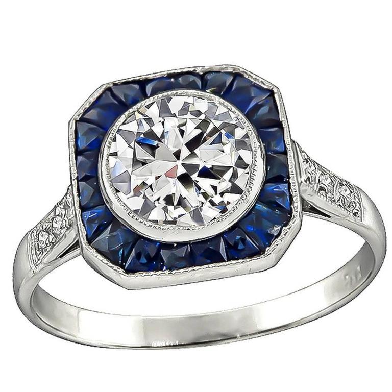 Amazing GIA 1.06 Carat Diamond Sapphire Engagement Ring