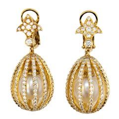 Laura Munder South Sea Pearl and Diamond Gold Earrings