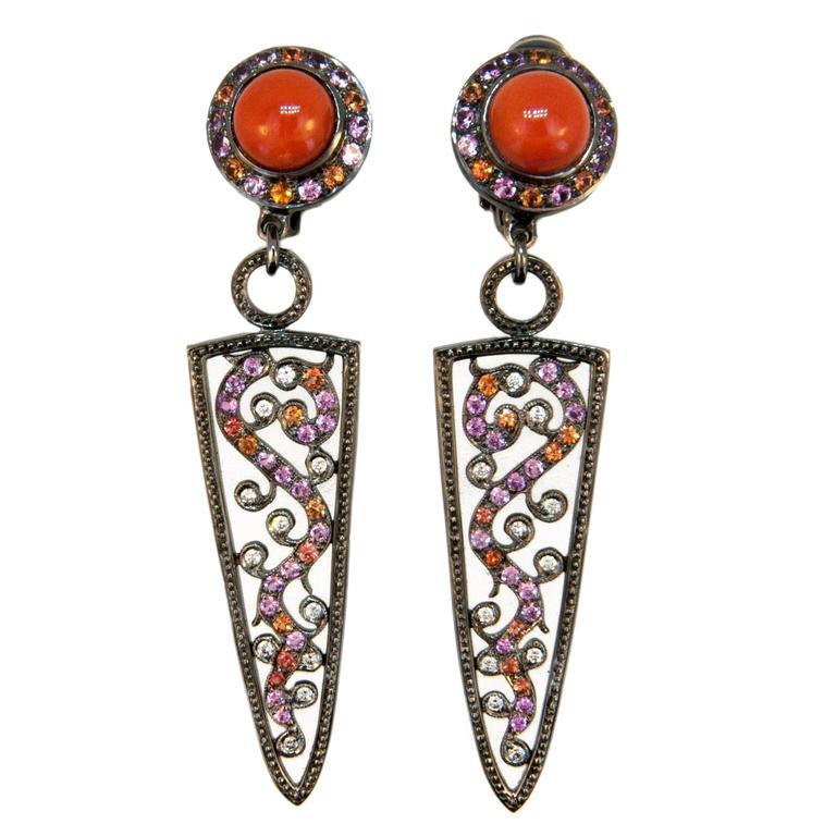 Laura Munder Coral Pink & Orange Sapphire Diamond Blackened White Gold Earrings