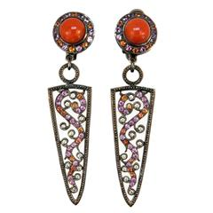 Laura Munder Coral Pink & Orange Sapphire Diamond Blackened White Gold Earrings