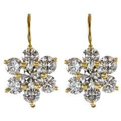 Roman Malakov, 6.58 Carat Round Diamond Gold Flower Hanging Earrings