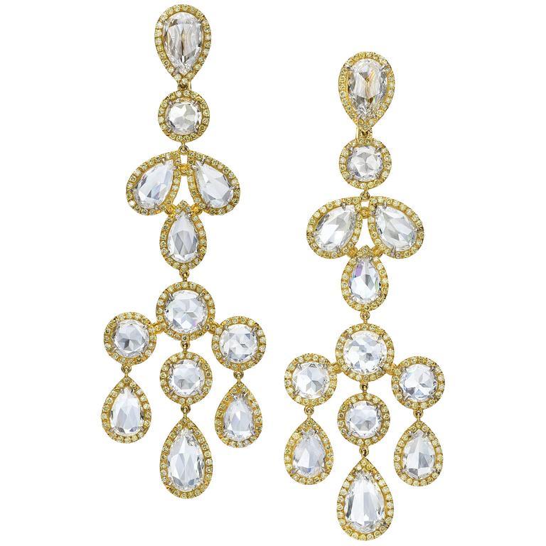 22.35 Carat Rose Cut Diamond Chandelier Earrings