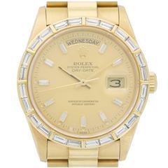Rolex Yellow Gold Baguette Diamond Bezel Day-Date Wristwatch Ref 18168