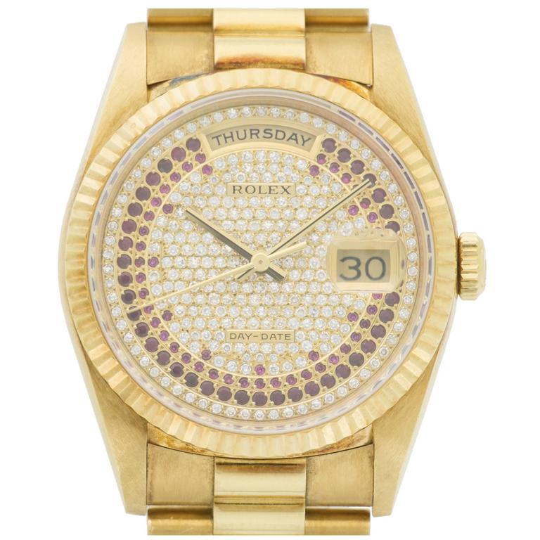 Rolex Yellow Gold Pavé Diamond Ruby Dial Day-Date Wristwatch Ref 18238 1990