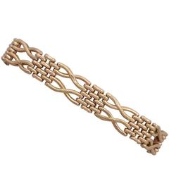 Antique 1898 Rose Gold Gate Bracelet with Heart Padlock