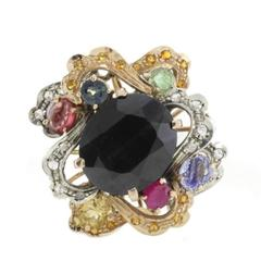 Diamonds, Emeralds, Rubies, Blue and Yellow Sapphires Gold and Silver Ring