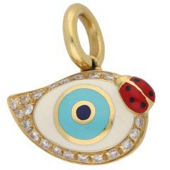 Aaron Basha Gold Enamel Diamond Eye Charm Pendant