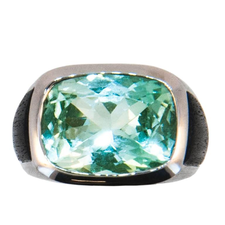 Laura Munder Mint Green Tourmaline and Ebony Wood White Gold Ring 1