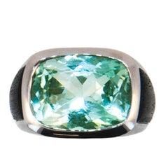 Laura Munder Mint Green Tourmaline and Ebony Wood White Gold Ring