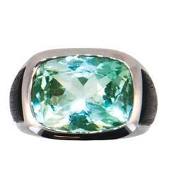 Laura Munder Mint Green Tourmaline and Ebony Wood White Gold Ring