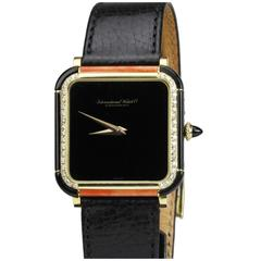 IWC Yellow Gold Diamond Onyx Coral  Manual Wind Wristwatch