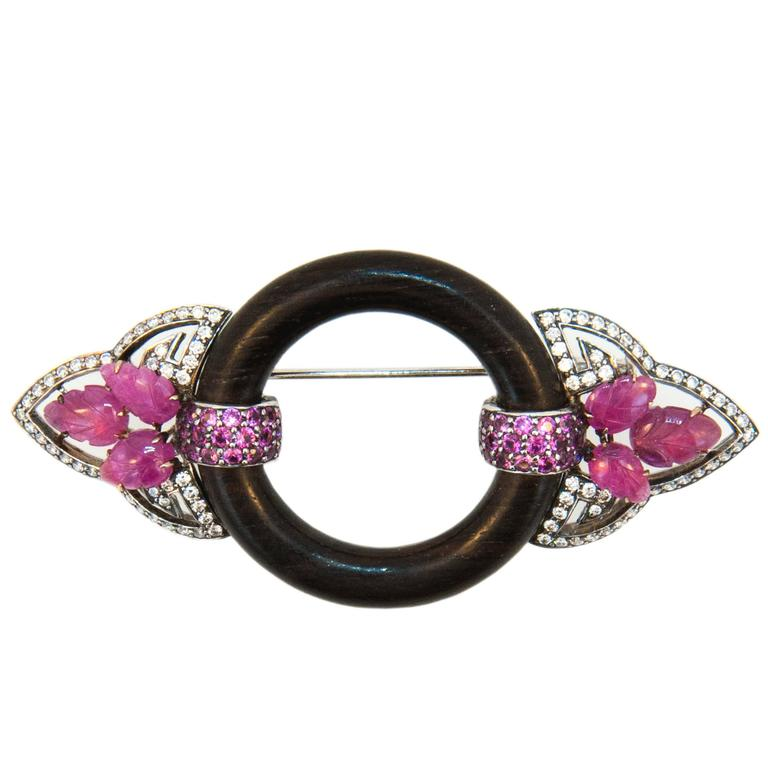 Laura Munder Pink Sapphire Diamond Wood Pin Brooch For Sale