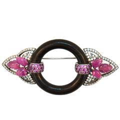 Laura Munder Pink Sapphire Diamond Wood Pin Brooch