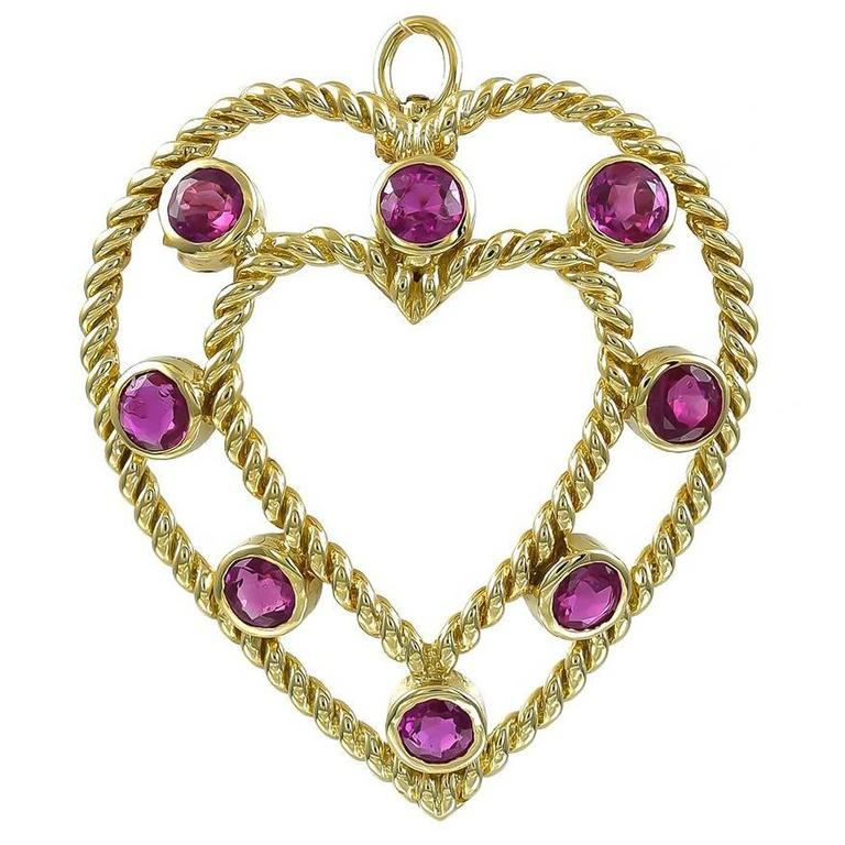 Tiffany & Co. Gold and Ruby Pendant/Pin