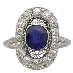 1940s 1.43 Carat Sapphire and Diamond Platinum Ring