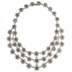 133.33 Carat Color Diamond Multi-Strand Flower Necklace